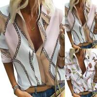 Women Plus Size Autumn Casual Long Sleeve Shirts Floral Loose V Neck Blouse Tops