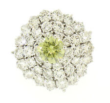 14k White Gold Handmade 5.34ctw White & GIA Greenish Yellow Diamond Cluster Ring