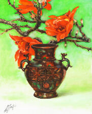 Original Still Life Oil Painting ANTIQUE BRONZE VASE