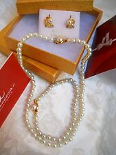 6MM WHITE MAJORCA/MALLORCA PEARL SET 3 PIECES 18K GOLD FILLED faux majorica