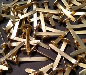25mm Paper Fasteners - Pointed Brass Metal Steel