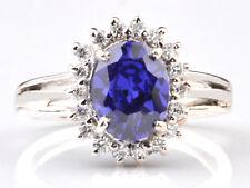 585er Weißgold 2,10KT Natürlich blau Tansanit EGL Zertifiziert Diamant Ring