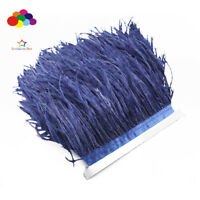 Hot 1/5/10 meters navy Ostrich Feathers 8-15cm/3-6 inch Fringe Ribbon Trim craft