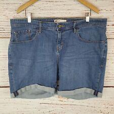 Levis Stretch Denim Shorts Womens Plus Size 20 Plus 2X Blue Jean Cuffed