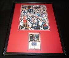 Michael Jordan 16x20 Framed Game Used Final Floor & Photo Display Bulls UDA