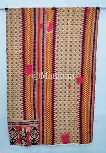 Vintage Kantha Quilt Queen Indian Handmade Throw Reversible Blanket Bedspread