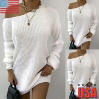 Women Long Sleeve One Shoulder Jumper Sweater Tops Ladies Winter Mini Dresses US