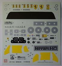 Pocher 1:8 Ferrari Aufkleber Set Speedometer F40 etc neu gelb 55004 N19