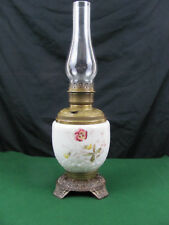 Antique American Center Draft Victorian Parlor Oil Lamp Floral Painted Receiver