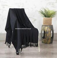 Large Black Solid AC Blanket Indian Mudcloth Cotton Throw Handloom Sofa Throw