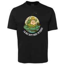 New I'm only Happy when FISHING Black T Shirt 100% Cotton Size S to 7XL