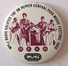 Vintage 1980 DEVO concert promo pin NY Central Park button badge WPLJ 80s tin