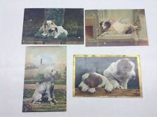 Vintage Lot 4 1907-1909 Victorian Postcards With Dogs One Tuck With Pekingese