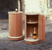 ROUND BEDSIDE TABLE-CUPBOARD/NIGHTSTANDS with half pipe edge, AVAILABLE TO ORDER