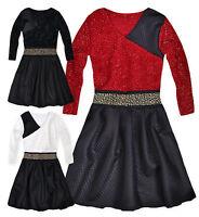 Girls Christmas Dress New Kids Long Sleeved Skater Dresses Age 2-3 3-4 4-5 Years