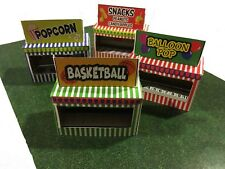 HO Scale Slot Car Track Carnival Booth Stand Kit - Makes 4 Game/Food Stands