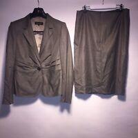 Escada Womens Virgin Wool Silk Suit Designer Blazer And Skirt Size 40/ UK 12
