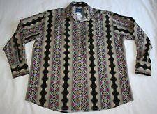 Wrangler Men Western rockabilly Pearl Snap Shirt XL Aztec graphic Cowboy rodeo