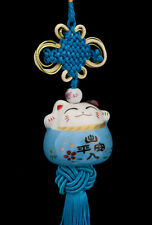 Suspension Maneki Neko-chat Japonais- Porte Bonheur-grand Modele-bleu -486-SD1