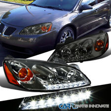 05-10 Pontiac G6 Smoke Projector Headlights w/ LED DRL Head Lamps Replacement