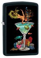 Zippo Lighter: Mermaid and Martini by Rick Rietveld - Black Matte 80936