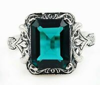 2CT Apatite 925 Solid Sterling Silver Vintage Art Ring Jewelry Sz 9, PR31