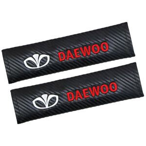 2x Auto Car Carbon Fiber Safety Seat Belt Cover Shoulder Pad Cushion For Daewoo