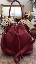 Ora Delphine Red Pebble Leather Drawstring Claire Bucket Bag EUC! MSRP $365