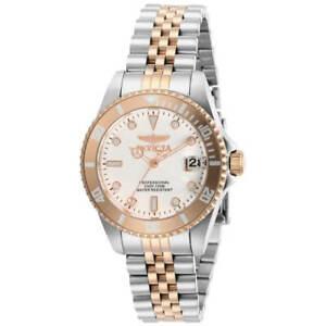 Invicta Women's Watch Pro Diver Quartz White Dial Two Tone Steel Bracelet 29193