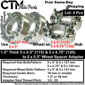 """4P 1.5"""" THICK 5x4.75(5x120) & 5x5(5x127) TO 5x5"""" WHEEL ADAPTER SPACER 1/2 STUD"""