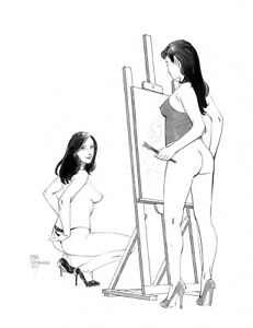 Sexy  girl painter and her model original   art  by Paradis