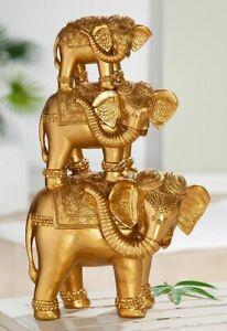 Dekofigur Indoor - Gilde Elefanten goldfarbig - Skulptur Statue Dekoration ...