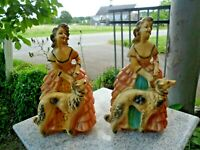 Southern Belle With Russian Wolfhound Plaster Statue Antebellum Chalkware Woman