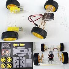 Acrylic White Steering engine 4 wheel 2 Motor Smart Robot Car Chassis kits DIY