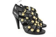 Gucci Studded Babouska Crisscross Black Leather & Gold Studded Heels Size 40