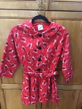 Vintage 50s Xs Campus Girl Red Bandana Pin-Up Rockabilly Quilted Bed Jacket Fab!