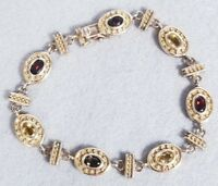 Ornate Sterling Silver Gold Toned Amethyst Citrine Tourmaline Tennis Bracelet 7""