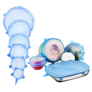 6/1Silicone Reusable Stretch and Fresh Lids Seal Wraps Cover Film Cling