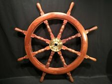 "36"" 8 Spoke Vtg Wood Brass Nautical Ships Wheel Maritime Yacht Boat Marine Decor"