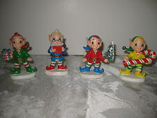 Lot Set of 4 Workshop Elf Elves Figurines Christmas Tree Candy Cane Book Present