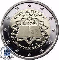 Deutschland 2 Euro Gedenkmünze 2007 PP Römische Verträge Mzz. A in Münzkapsel