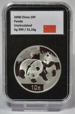 10 yuan 2008-china-Panda - 1 Oz plata-en el Slab
