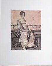 PORTRAIT de Barbara BANSI Jean-Auguste Dominique INGRES Dessin Rehaussé Imprimé