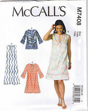 A Line Top Tunic Dress Notched Neck McCalls 7408 Sewing Pattern L XL XXL 16-26