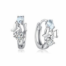 Fashion Women Cubic Zirconia Crystal Rhinestone Butterfly Hoop Huggie Earrings