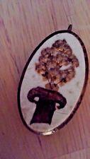 Vintage Wood Pendant w/ Raised Floral Design Brown White Tan