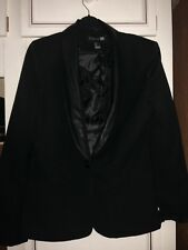 Forever 21 Women's Black Blazer With Faux Leather Around Collar Size L/12/14