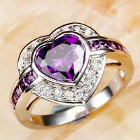 Women Love Style Heart Amethyst & White Topaz Gems Silver Ring Sz 7-10 Xams Gift