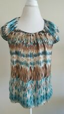 Signature By Larry Levine Women' Sleeveless Blouse Size S Multicolor Brown Teal