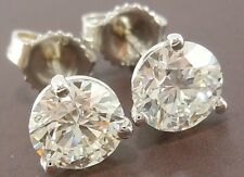 """GIA 2.04 CTW VS2/H Round Excellent Cut Diamond """" STUDS """" Earrings 18K CERTIFIED"""